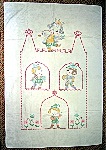 Cross Stich  Nursery Rhyme Baby Quilt Hand Made (Image1)