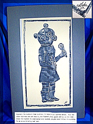 Koyemsi, the mudhead clown kachina, Linoleum Block Prin (Image1)