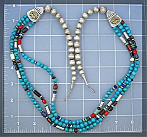 Tommy Singer Turquoise Sterling Silver Coral Necklace