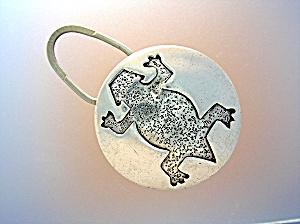 Sterling Silver Large Fob Key Ring Frog Design