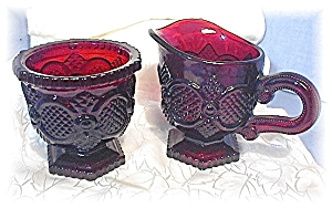 Deep Red Cape Cod Sugar & Creamer AVON (Image1)