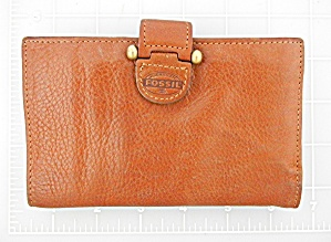 Wallet Tan Leather Fossil Check Book