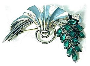 Sterling Silver Crystal Spray Art Deco Look Brooch (Image1)