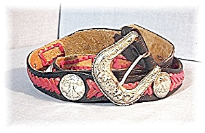 Red & Black Leather JUSTIN Leather Coin Belt (Image1)