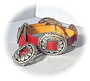 Leather Red And Silvertone Concho Belt