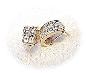 Earrings Diamond & 14K Yellow Gold French Back  (Image1)