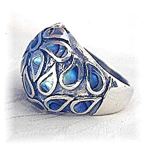 Sterling Silver & Abalone Dome Ring (Image1)