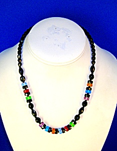 17 Inch Black/RedGreen/Amber/Blue Glass Beads (Image1)
