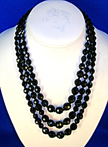 Triple  Graduated Black French Jet - Glass Beads . . . (Image1)