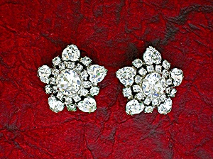 Crystal Hearts Rhodium Silvertone Clip Earrings