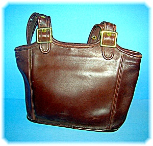COACH Leather Tobacco Brown Zippered Bag (Image1)
