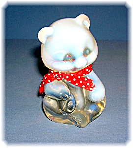 Fenton Opalescent Teddy Bear With Red Neck Tie (Image1)