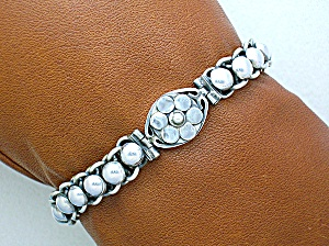 Sterling Silver Flower Bracelet Hook Clasp Indonesia (Image1)