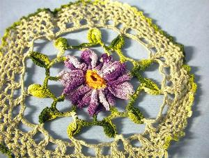 Violet Flower Hand Crocheted Doiley. (Image1)