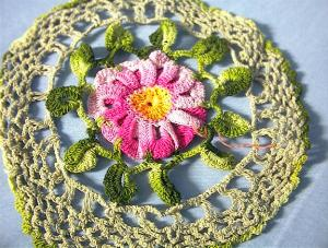 Bright Pink Flower Hand Crocheted Doiley. (Image1)