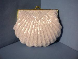 Vintage Pink Beaded Evening Bag With Chain