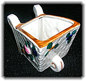 Ceramic Wheelbarrow Planter. Tiny Hand Painted