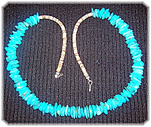 Natural Turquoise And Heishi Bead Necklace