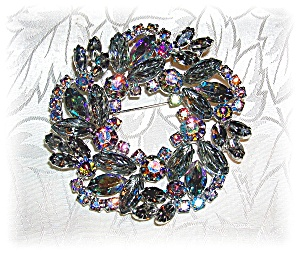 2 7/8 Inches Blue Green Borealis Jewelled Brooch (Image1)