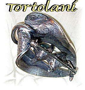 2 1/4 Inch Silver and Pearl Signed Tortolani Brooch (Image1)