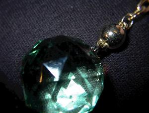 Green Faux Crystal Keychain Attachment. (Image1)