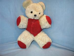 Mohair Teddy Bear  Glass Eyes Red Corduroy Outfit (Image1)