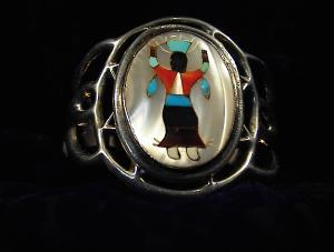 Native American Sterling Silver Mother Pearl Coral Onyx (Image1)