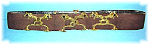 Tobacco Suede Leather & Brass Drazgon Belt (Image1)