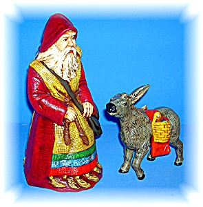 Santa Claus and Donkey Handpainted, ceramic (Image1)