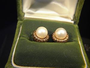 Earrings 14k Gold Diamond And 6mm Cultured Pearl