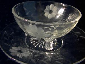 OLD Etched Glass Footed Dish and Plate (Image1)