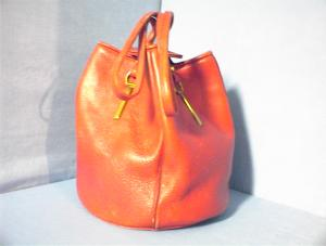 Bag Red Leather Drawstring  by Mari Jane for Justin. (Image1)
