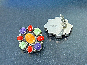 Navajo Sterling Silver Gaspeite Coral Charoite Earrings