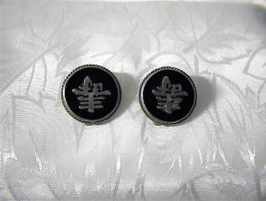 Sterling Silver Black Onyx Oriental Clip Earrings (Image1)