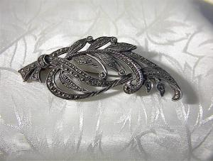 English Sterling Silver and Marquisite Brooch (Image1)
