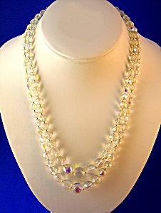 Bead Necklace, Crystal faceted 2 strand graduated, (Image1)