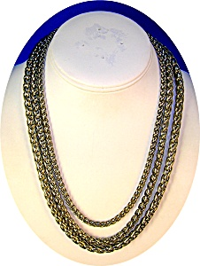 Necklace, Silvertone 3 Row Woven Rope Necklace