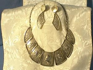 Necklace Earring Set Egyptian Sterling Silver Pharoh