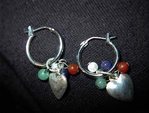 Silvertone Pierced Earrings With Multi Colored Stones