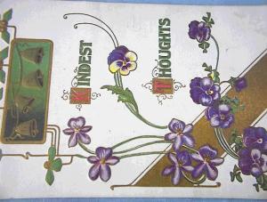 Pansies and Chrismas Bells Postcard 1910. (Image1)