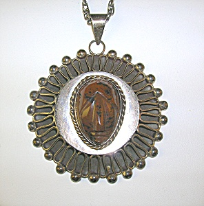 Necklace Sterling Silver Taxco Mexico PJB Tigerseye  (Image1)