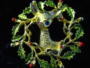 Wreath Brooch With Reindeer Marked 'gerry's'