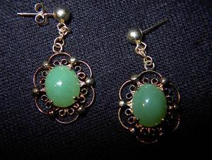 Gold over Sterling Silver and Jade Earrings. (Image1)