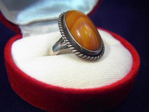 Vintage Sterling Silver Ring Large  Stone . . . . . (Image1)