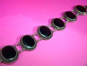 Bracelet Sterling Silver Onyx Marquisite