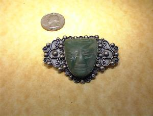 Mexican ESTERLIN 900 Silver and Green Jade Pin (Image1)