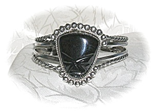 Signed Mexican Sterling & Onyx Cuff Bracelet