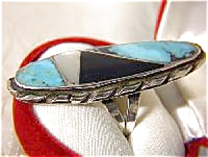 Sterling Signed N LEE Turquoise Onyx MOP Ring . . . . . (Image1)