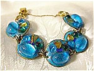 Vintage Peacock Blue Glass Enamel Bracelet (Image1)