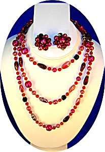 Cranberry Pearl Glass 50 Inch Necklaceearrings Japan..